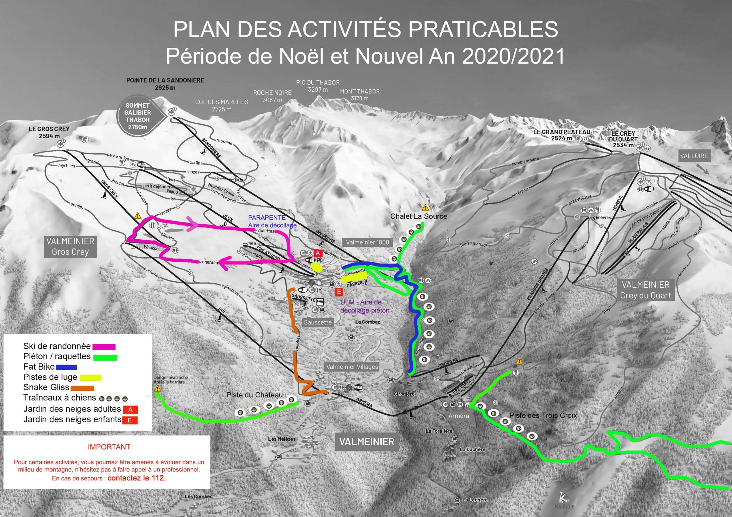 Plan des activités Valmeinier